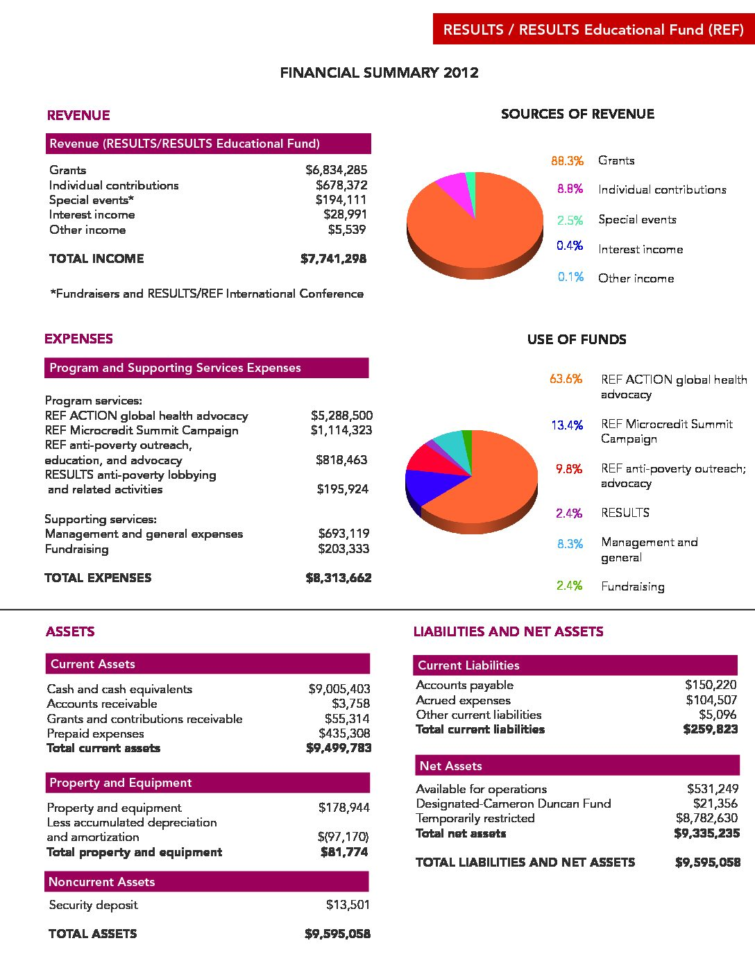 Annual report financial summary