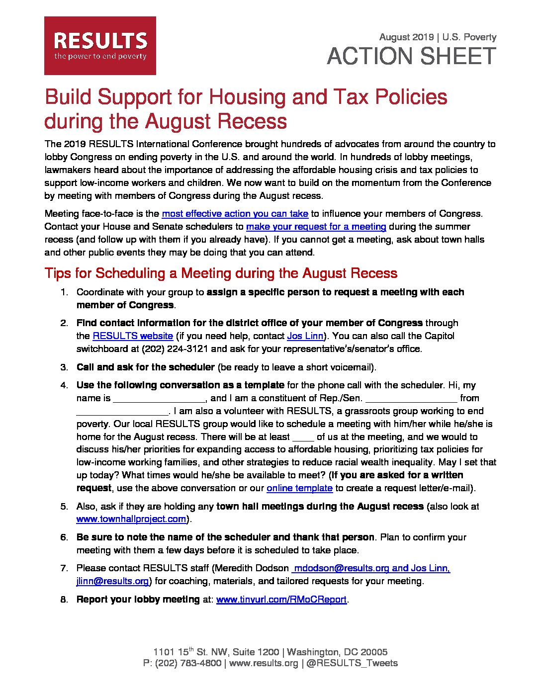 August 2019 U.S. Poverty Action Build Support For Housing And Tax Credits During The Recess