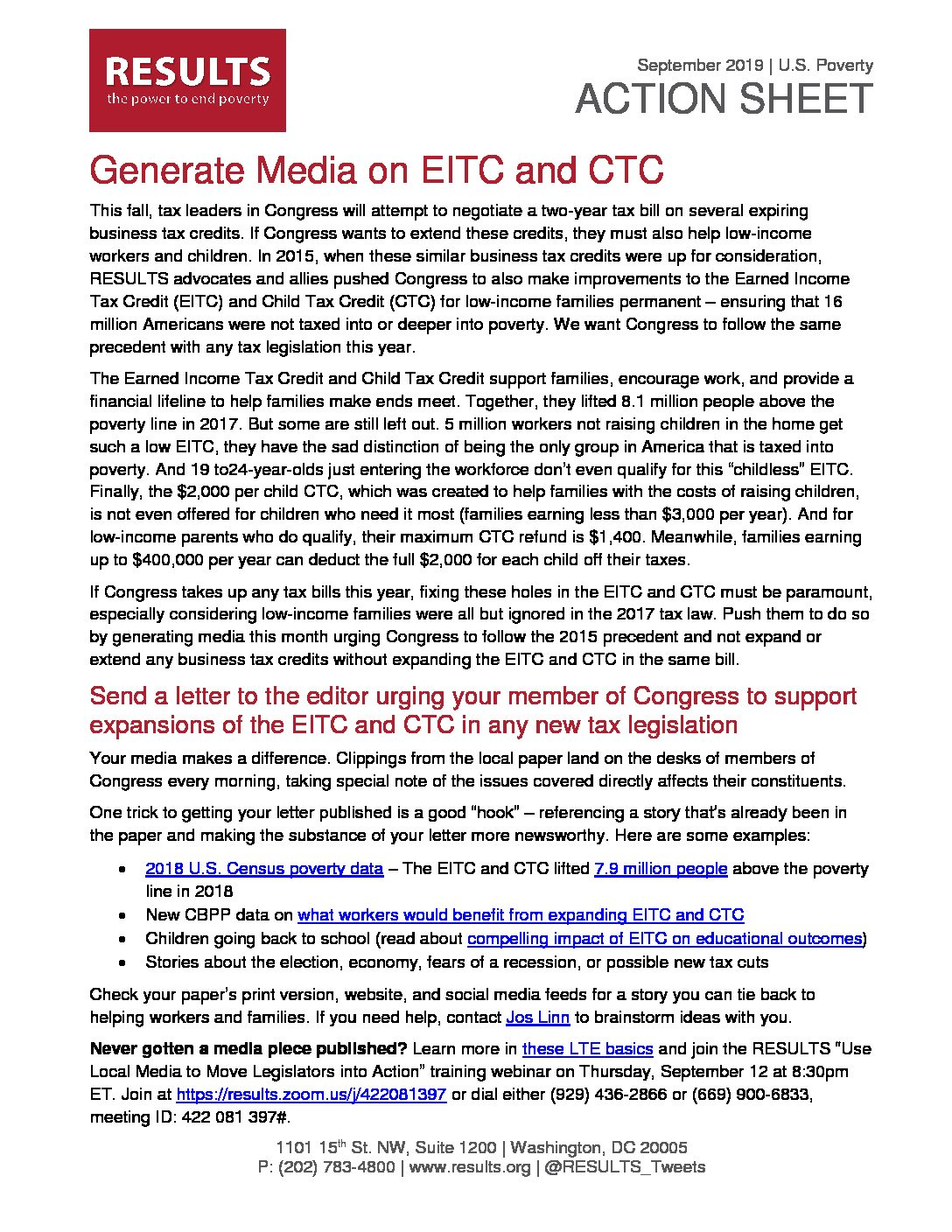 September 2019 U.S. Poverty Action - Generate Media on the EITC and CTC