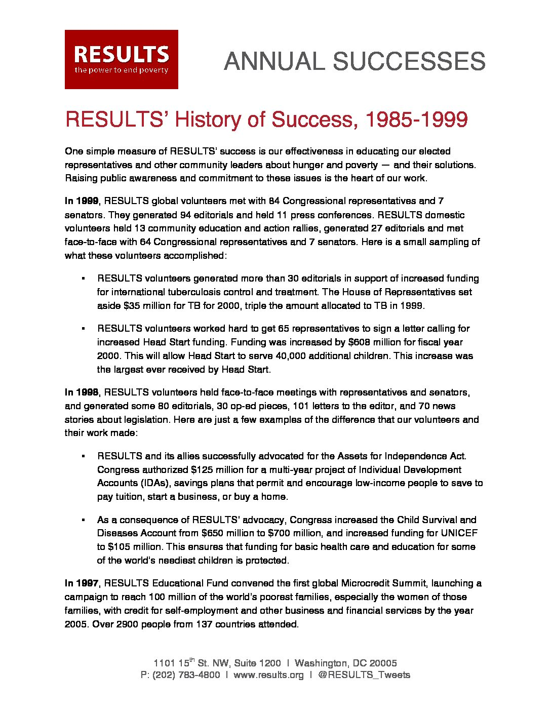 Annual Successes 1985-1999