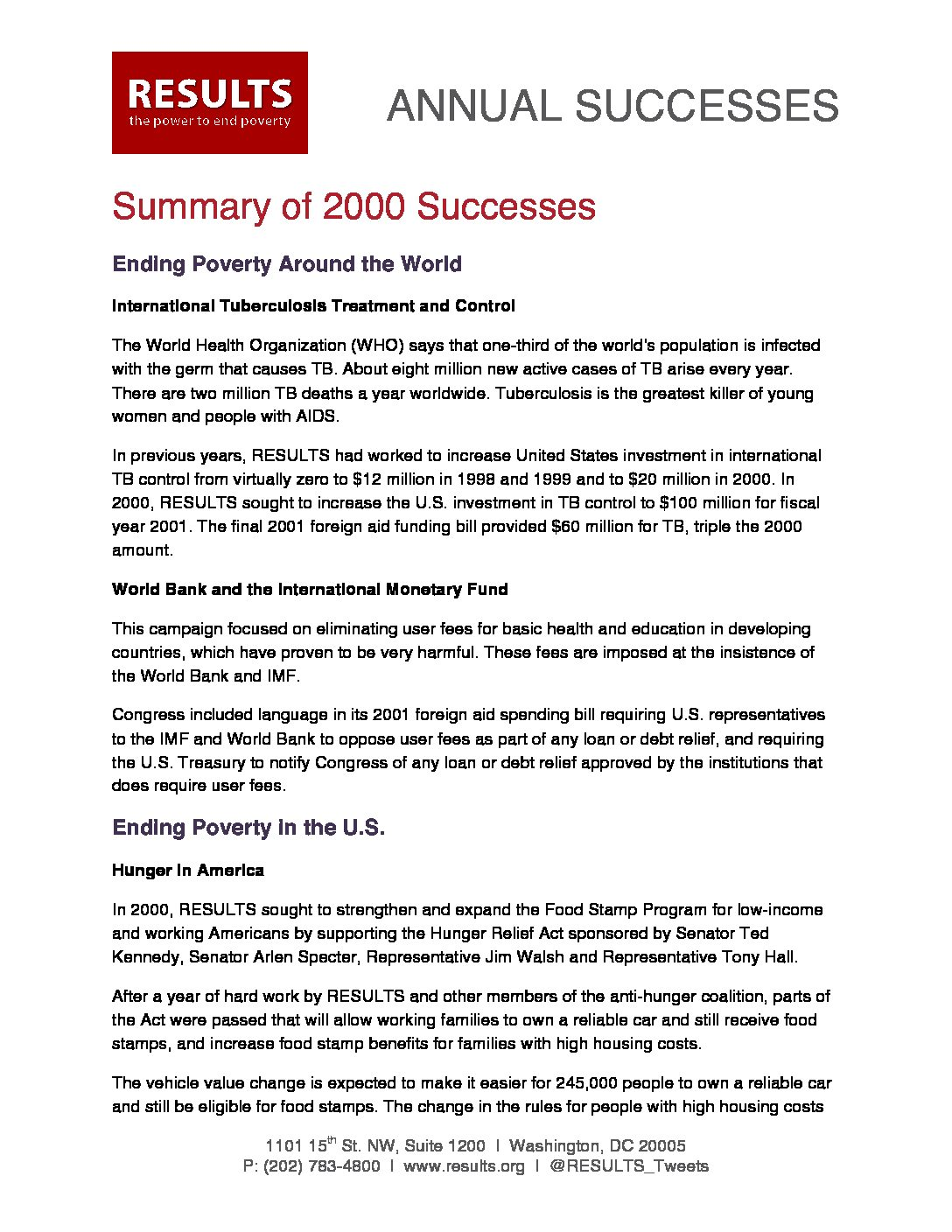 Annual Successes 2000