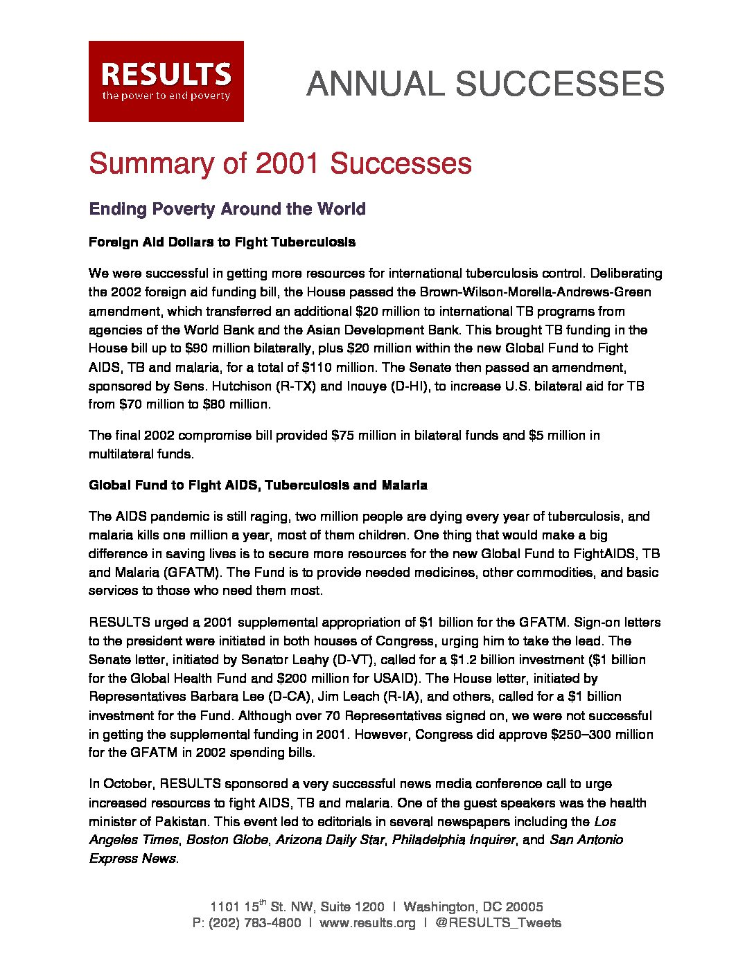 Annual Successes 2001
