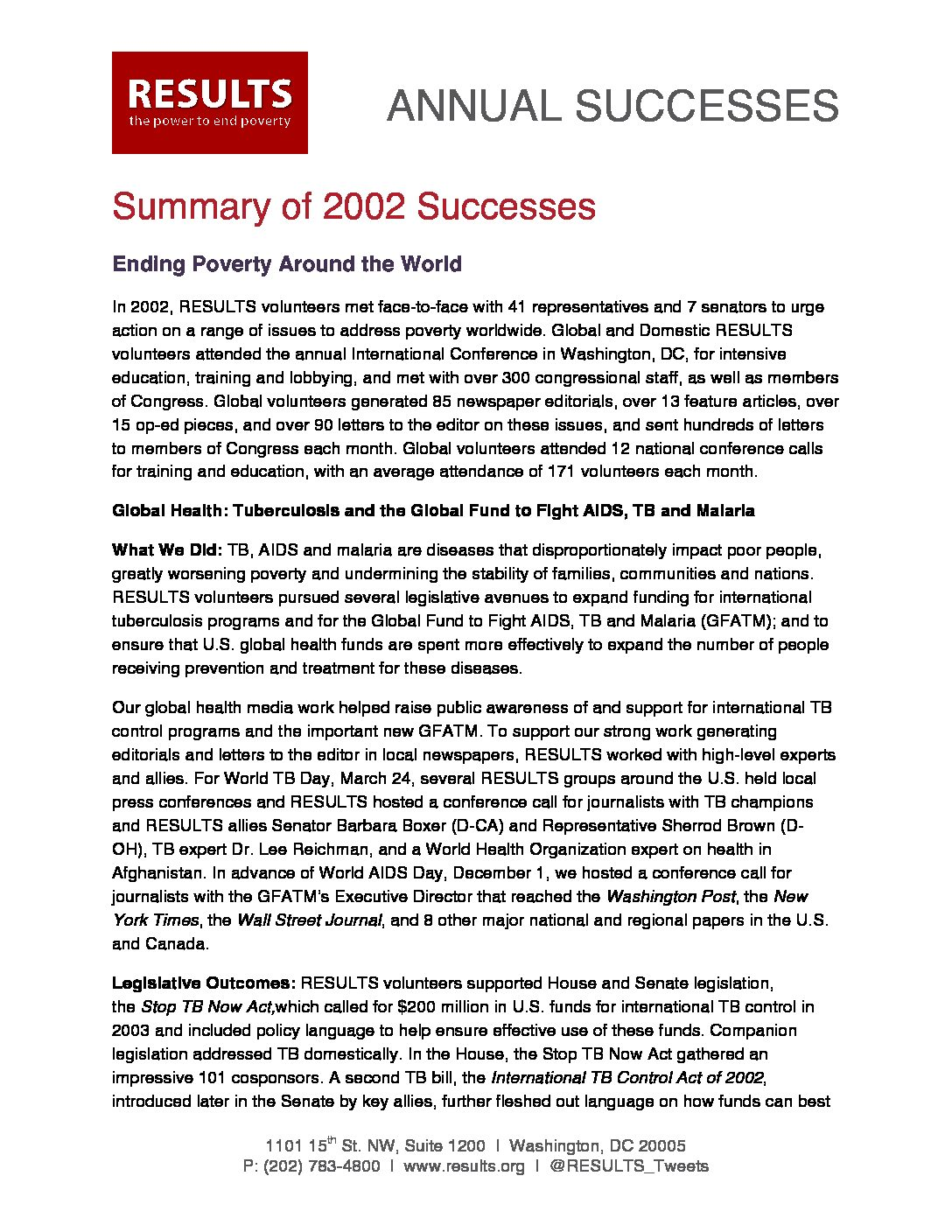 Annual Successes 2002