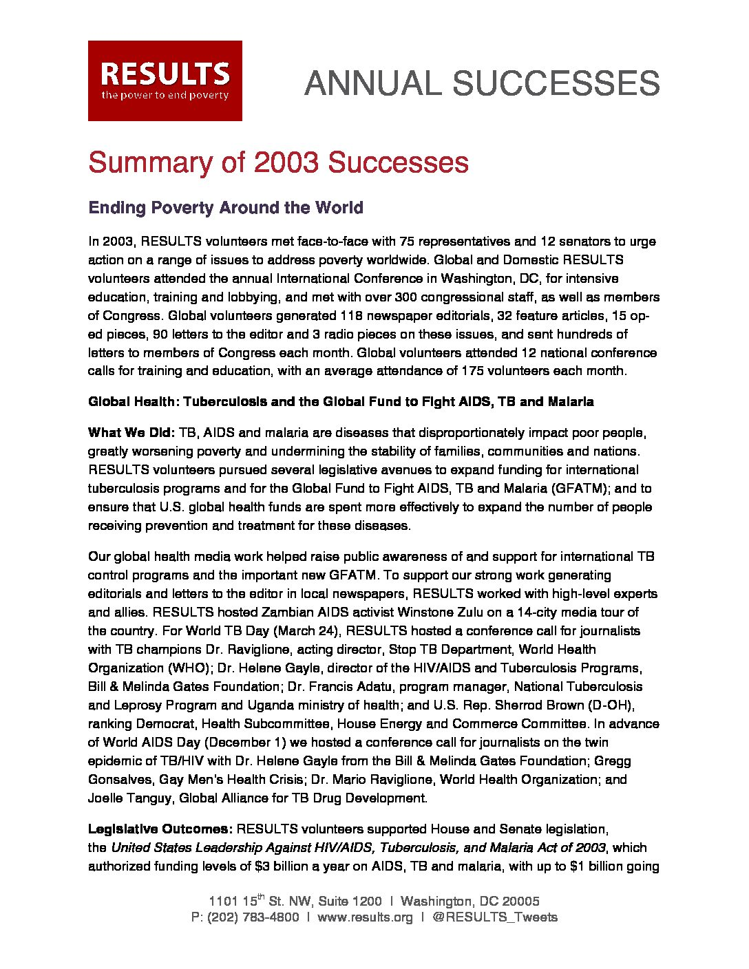 Annual Successes 2003