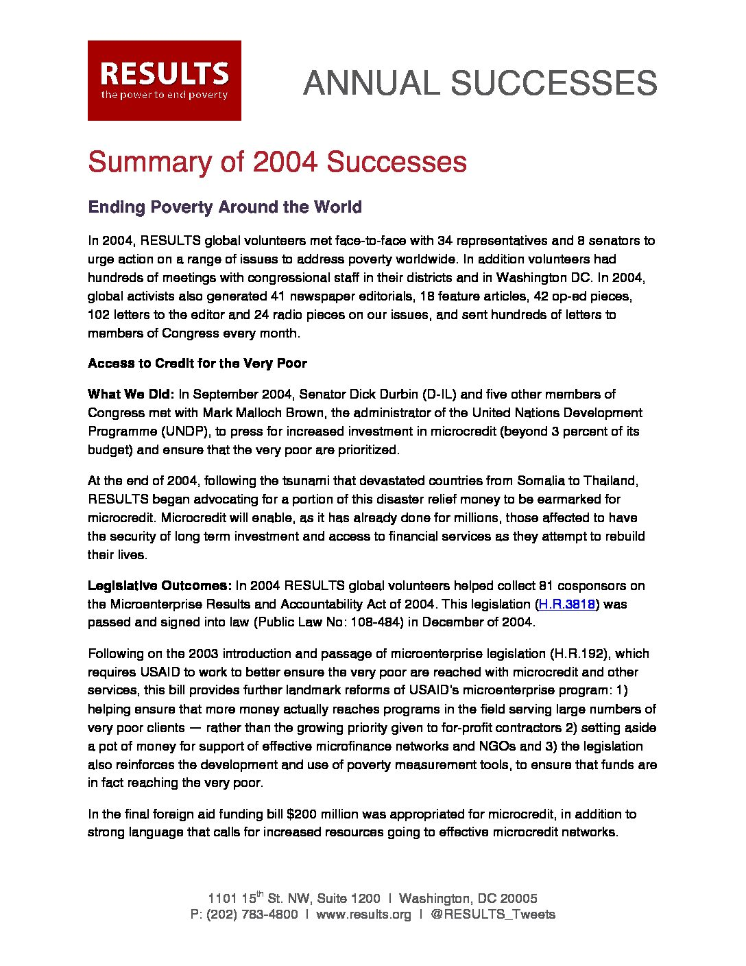 Annual Successes 2004