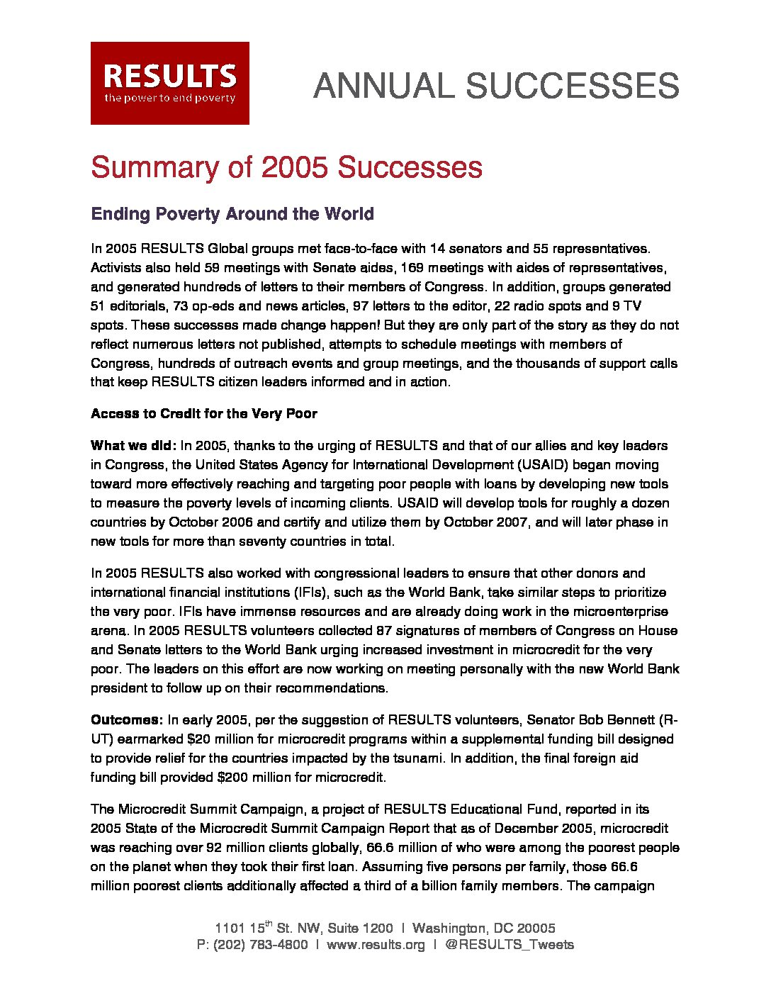 Annual Successes 2005