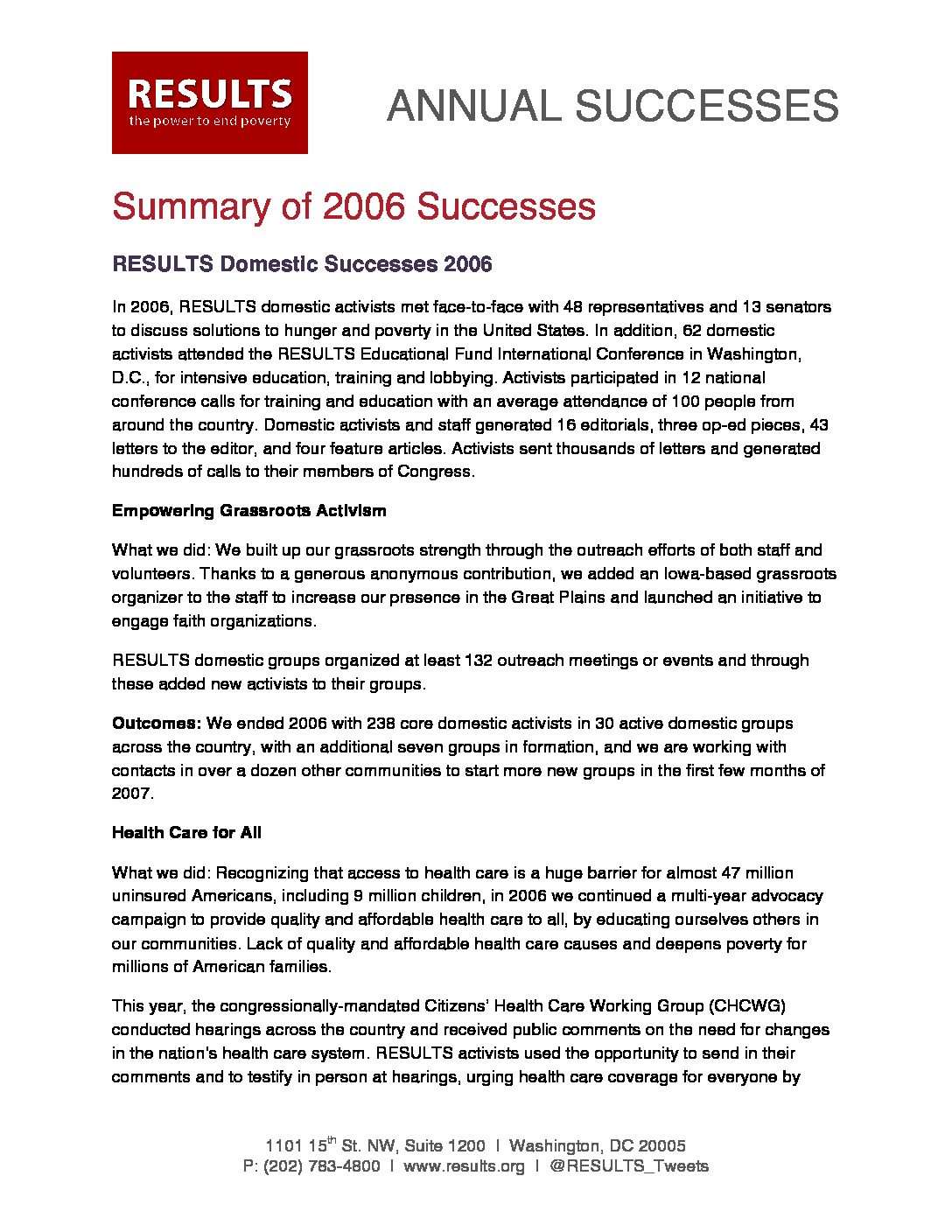 Annual Successes 2006