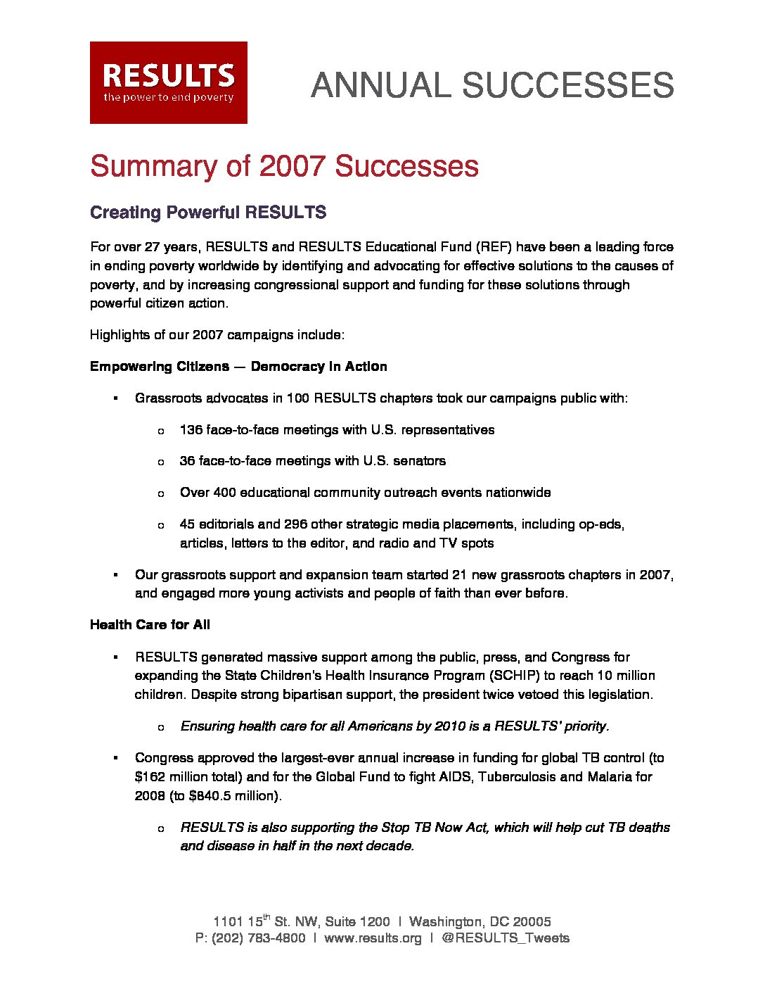 Annual Successes 2007