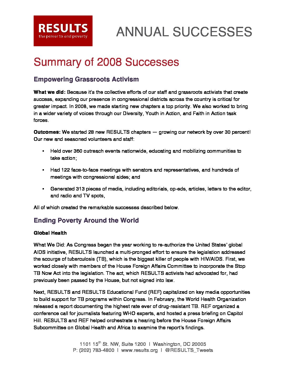 Annual Successes 2008