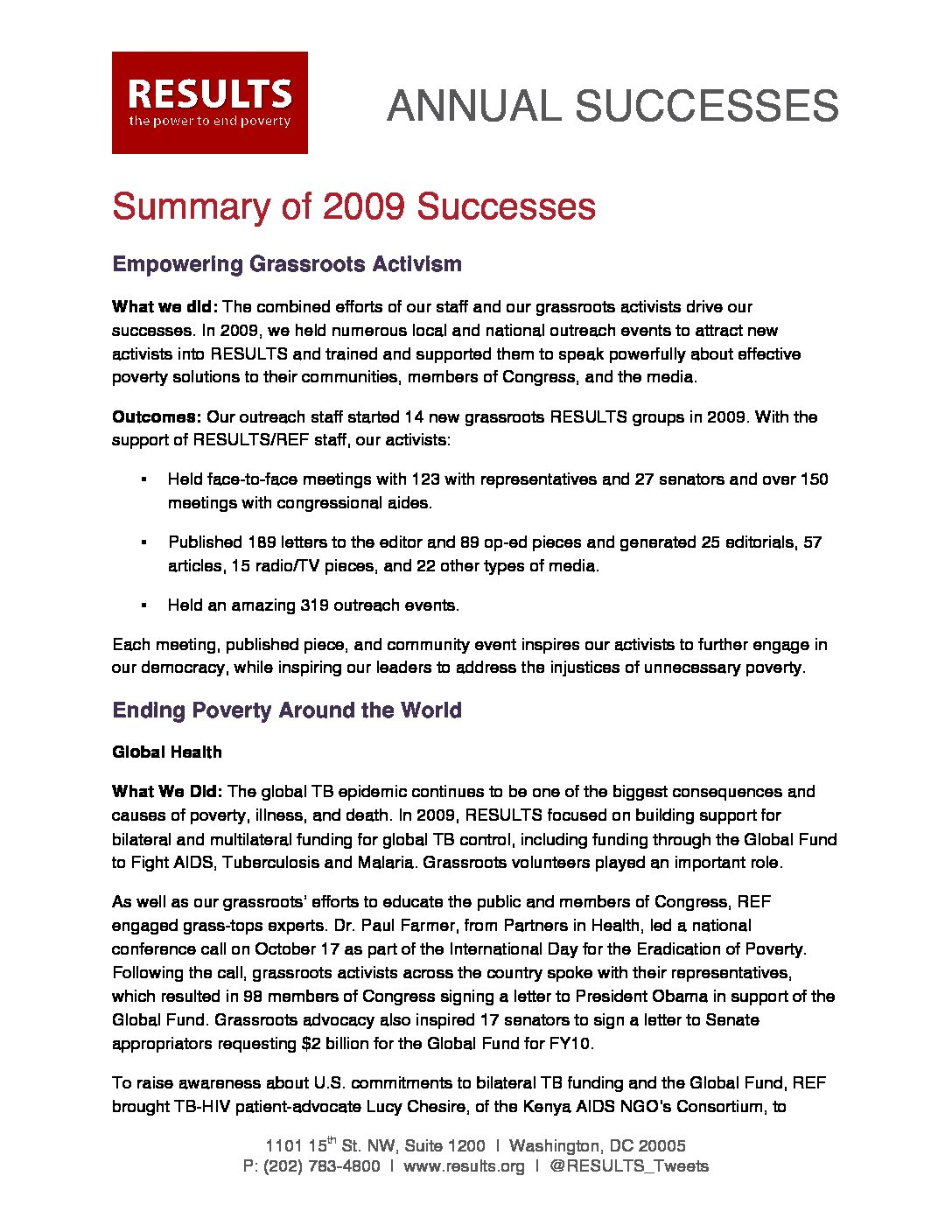Annual Successes 2009