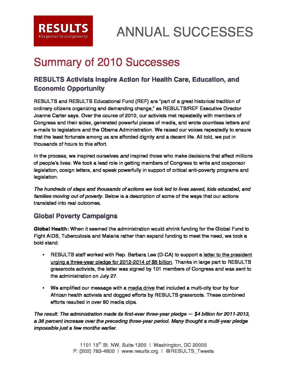 Annual Successes 2010