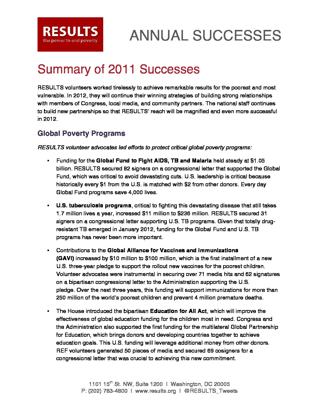 Annual Successes 2011