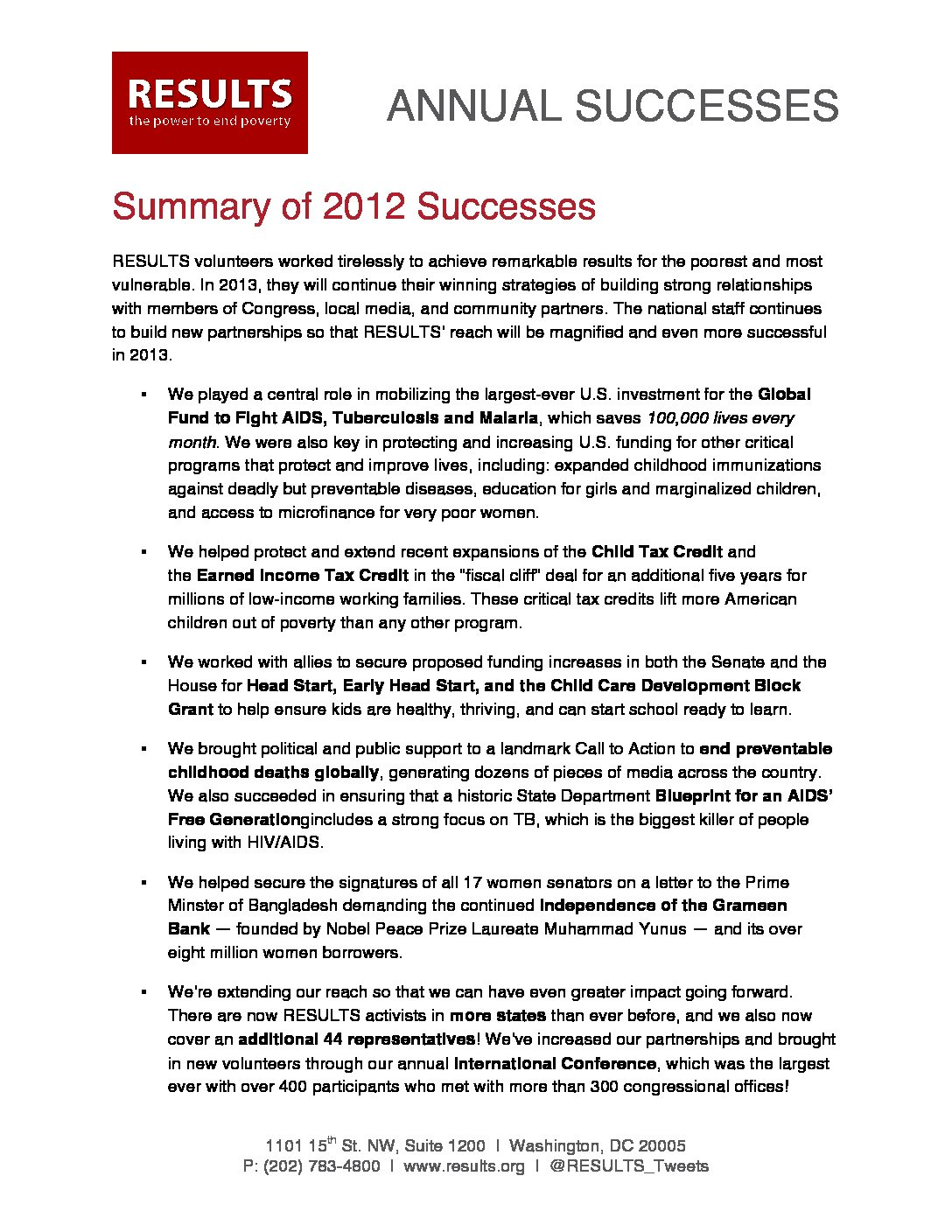 Annual Successes 2012