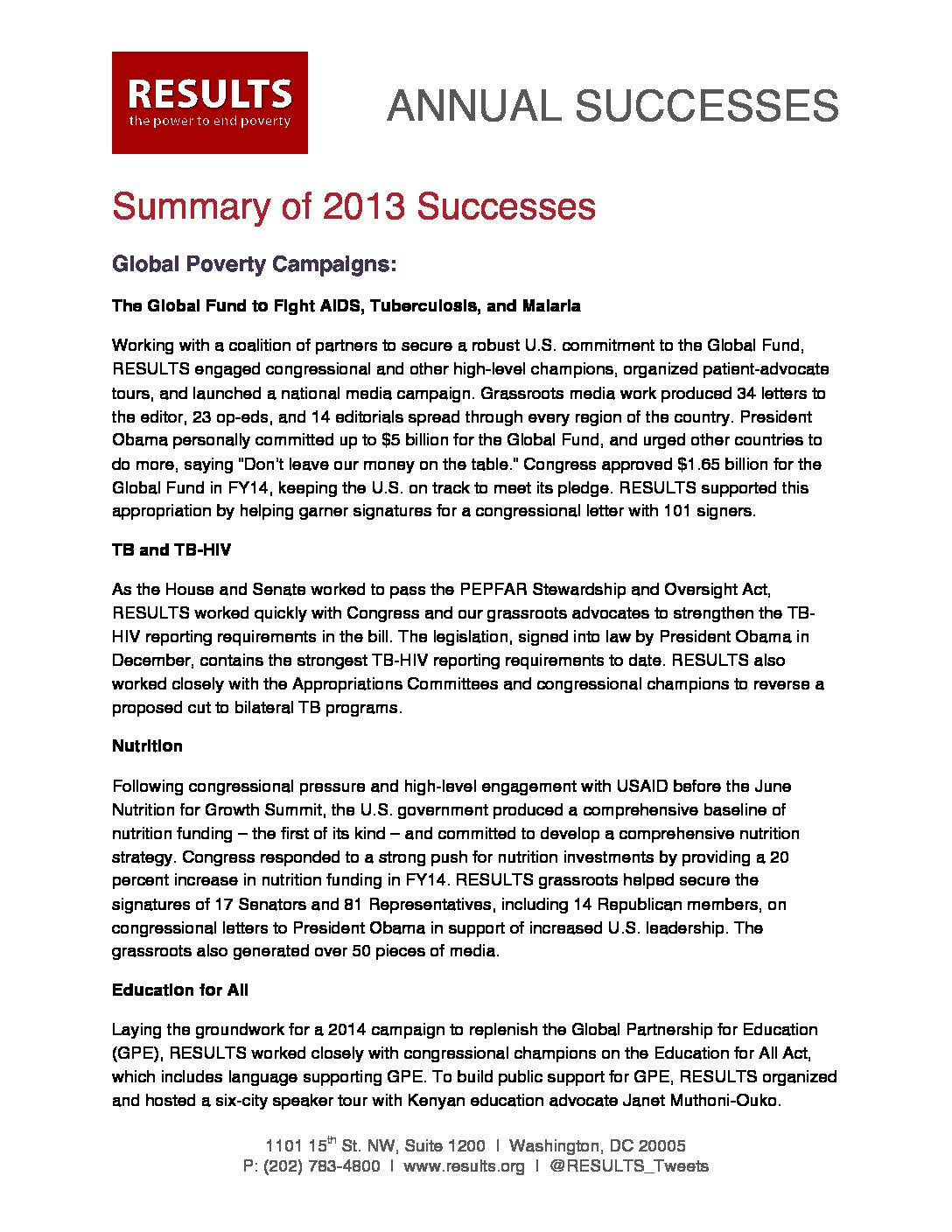 Annual Successes 2013