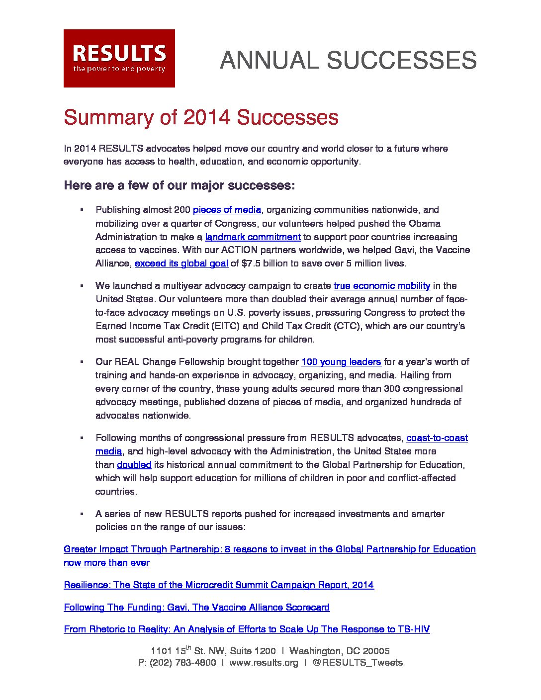 Annual Successes 2014