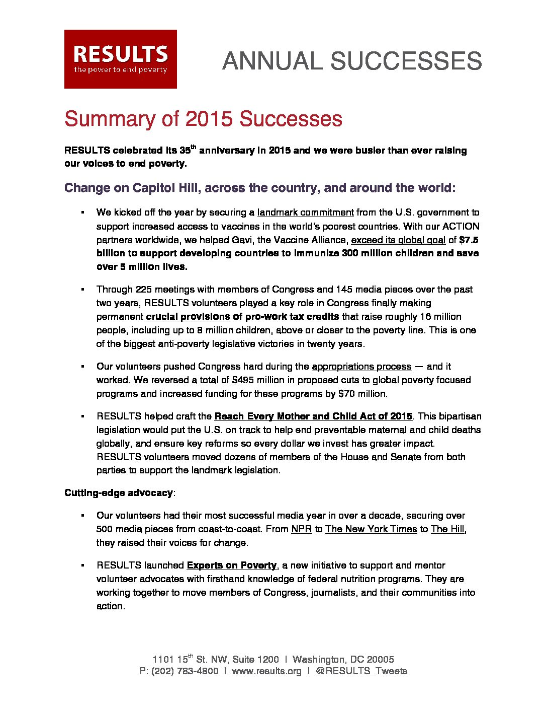Annual Successes 2015