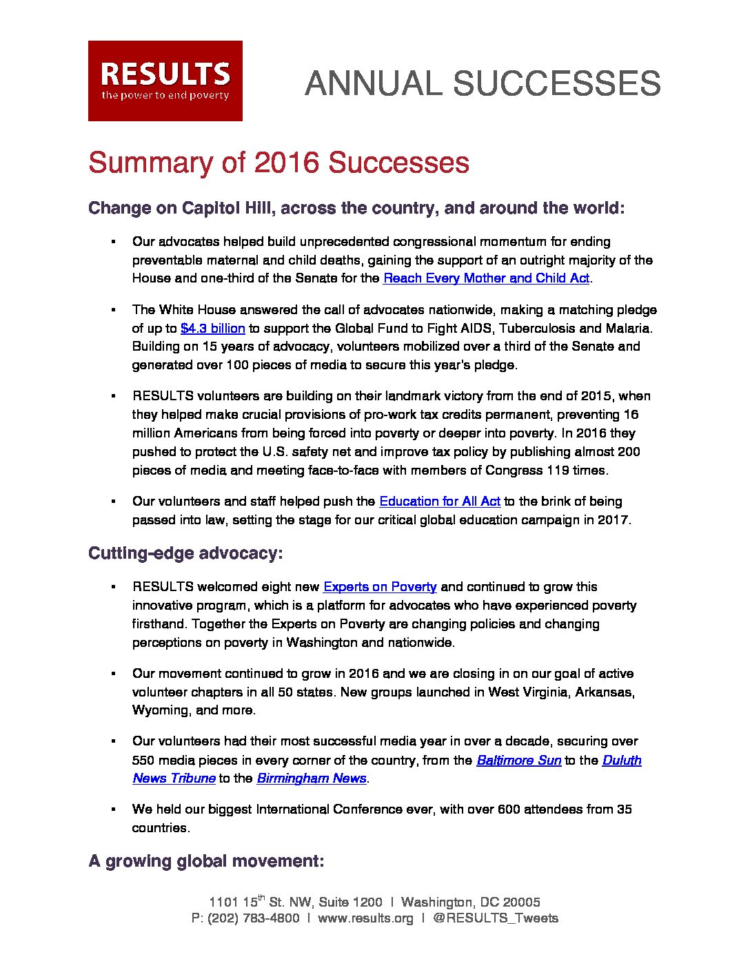 Annual Successes 2016