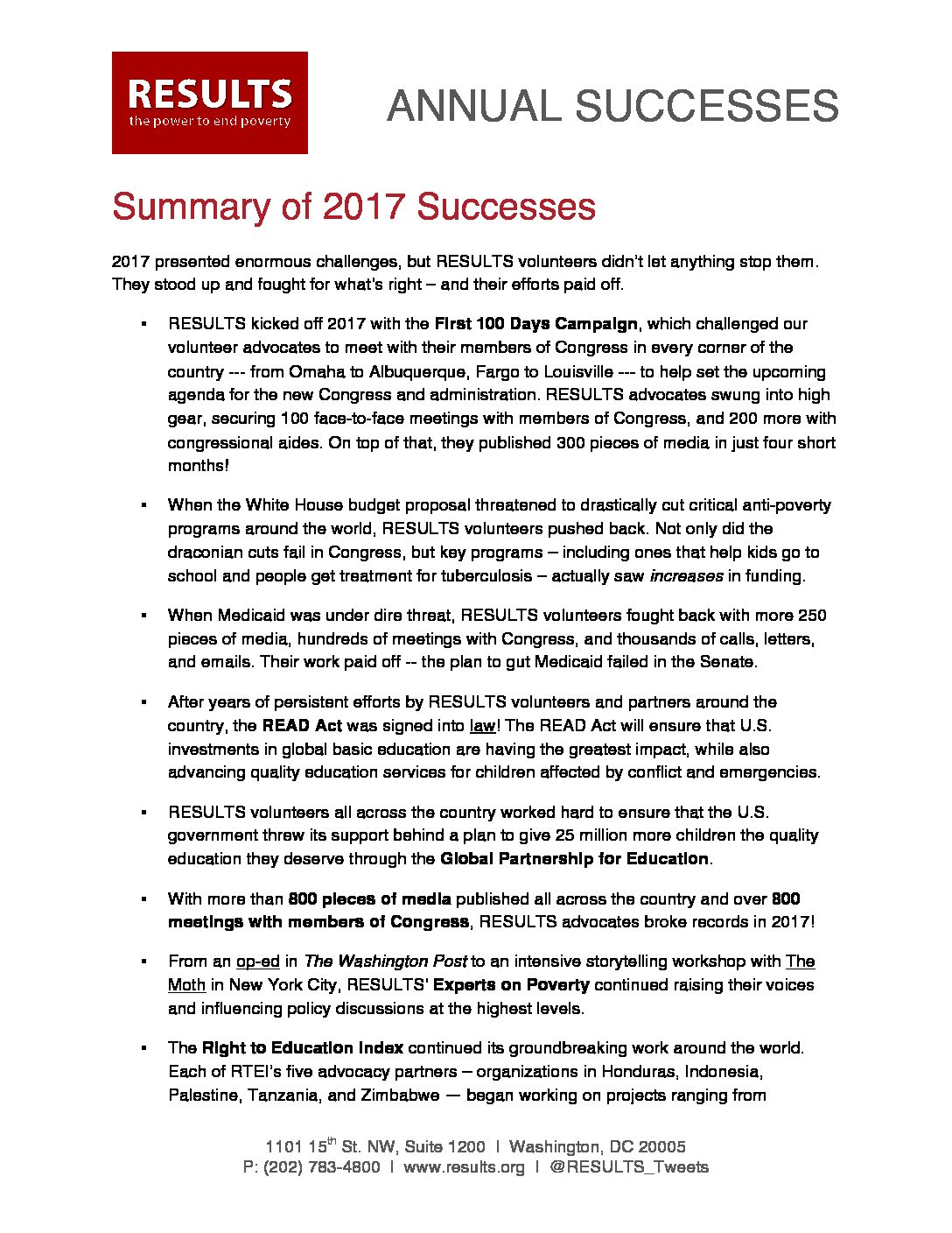 Annual Successes 2017