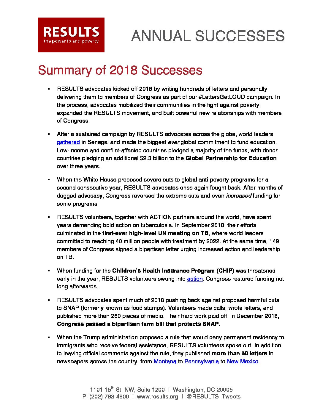 Annual Successes 2018