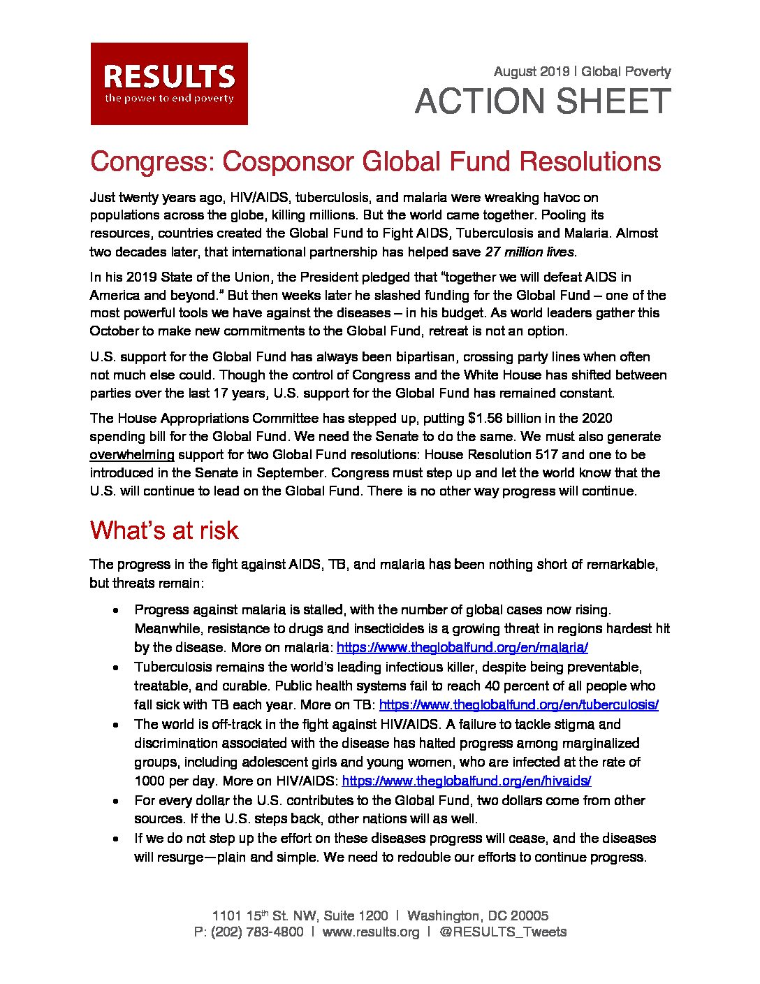 August 2019 Global Action Letter To Congress Global Fund Resolutions