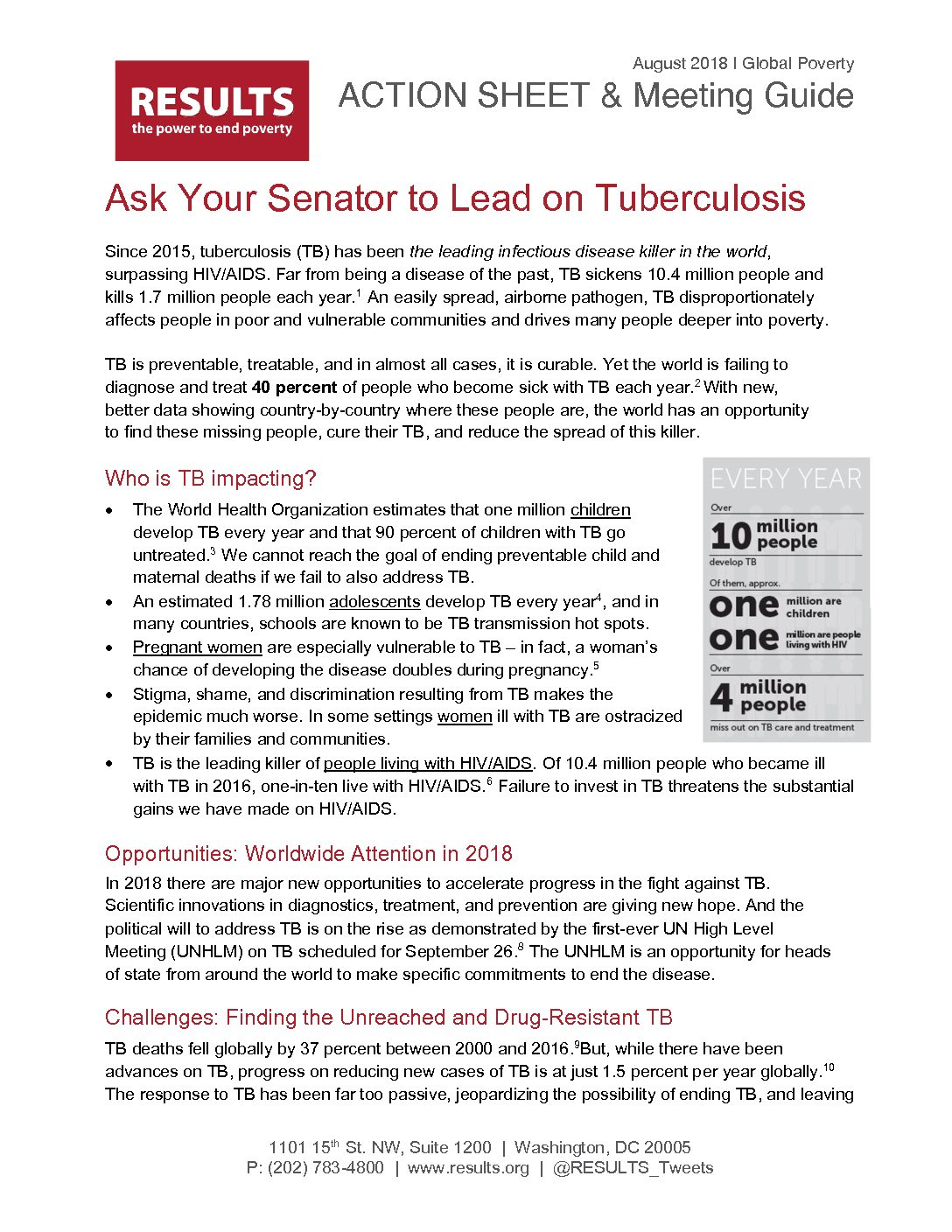 August 2018 Global Action Senate Letter On TB With Guide