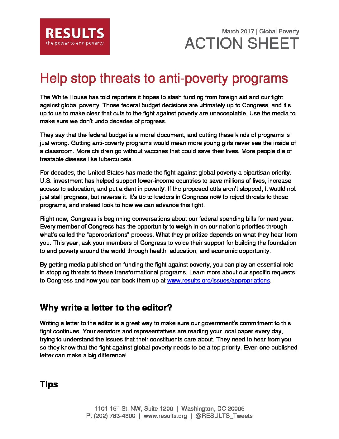 Global Action Sheet March 2017 Protect The Fight Against Poverty