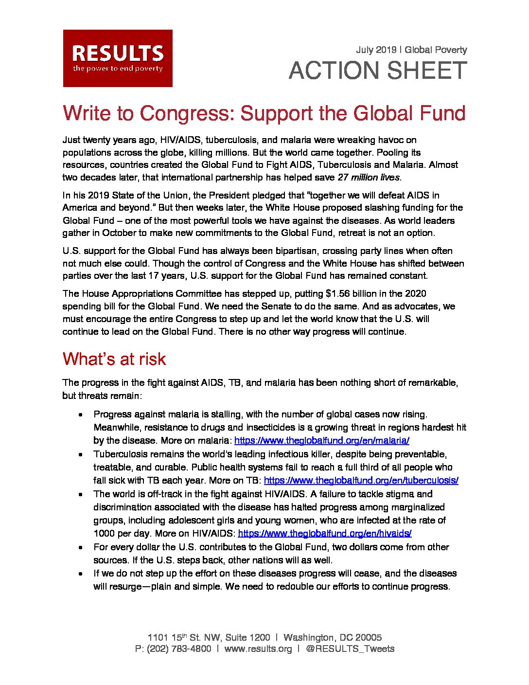 July 2019 Global Action Letter To Congress Global Fund Resolutions