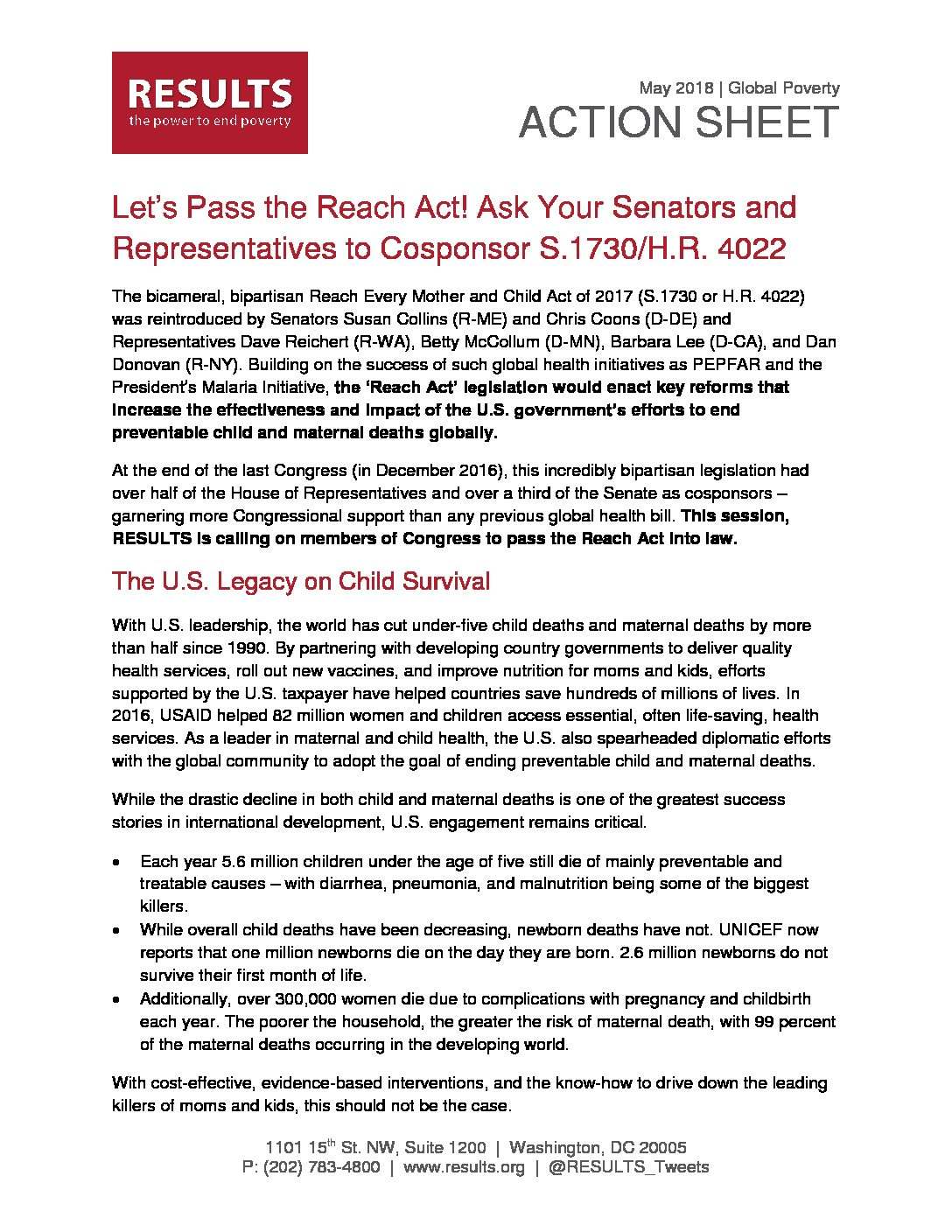 May 2018 Global Action Sheet Lets Pass The Reach Act