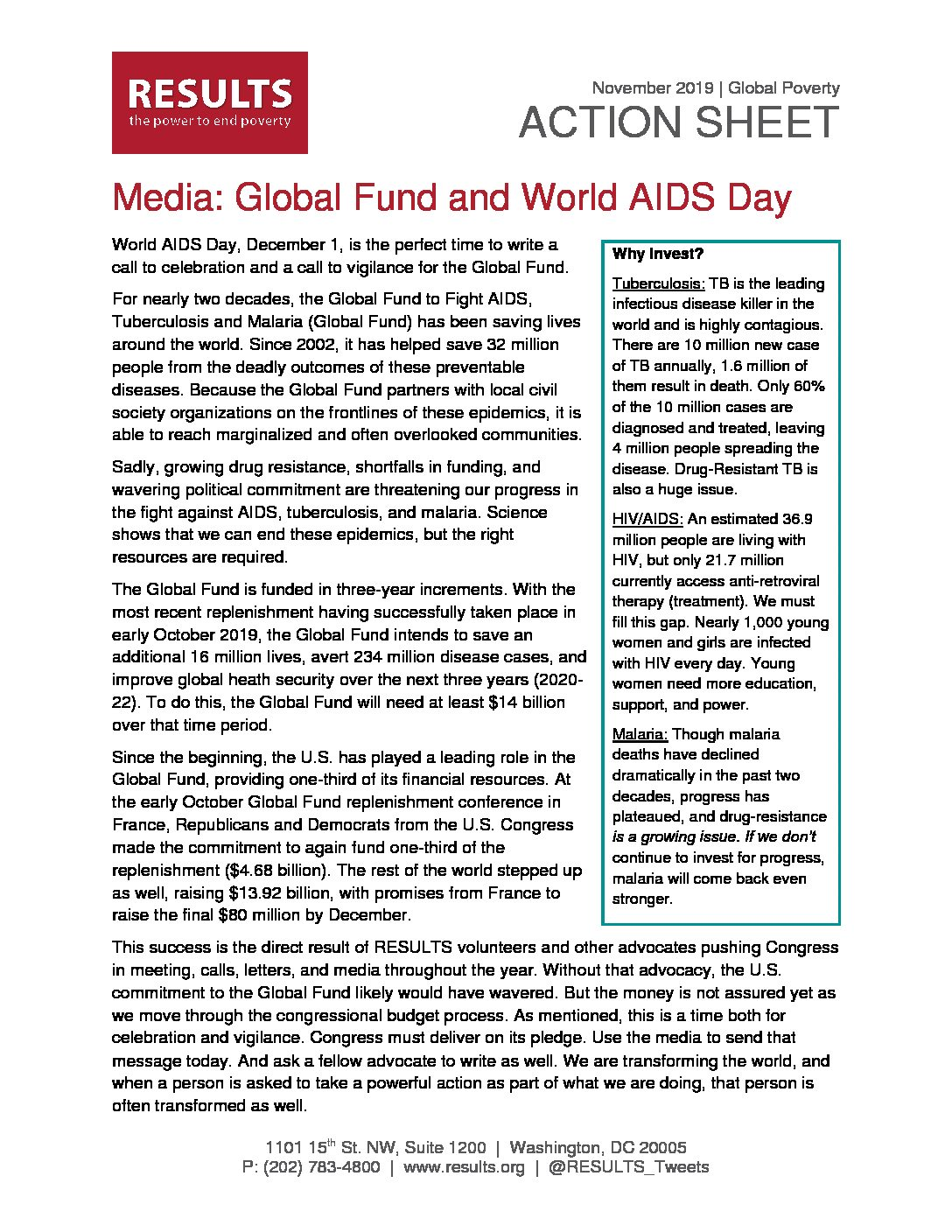 November 2019 Global Poverty Action - Media: Global Fund and World AIDS Day