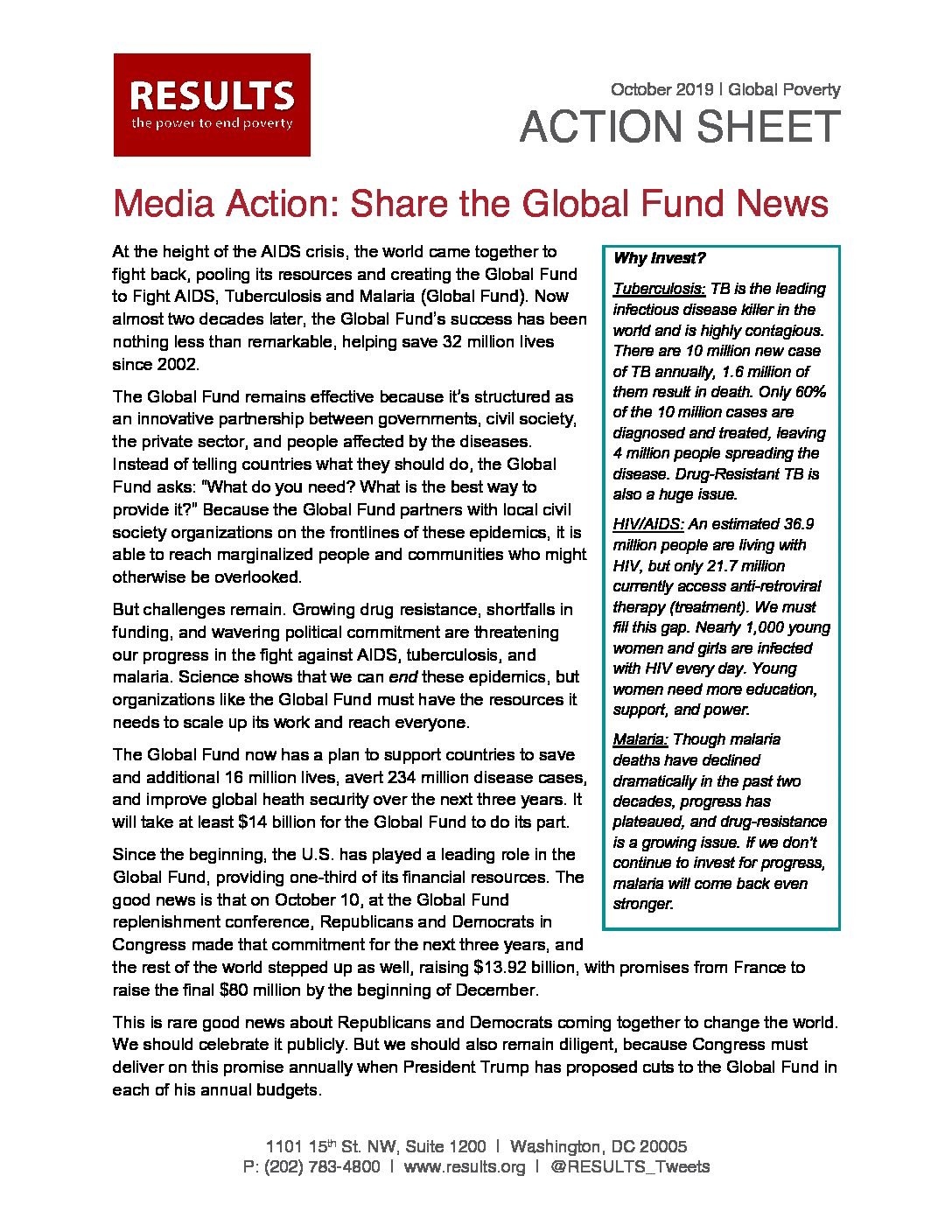 October 2019 Global Poverty Action: Media - Global Fund Replenishment Success