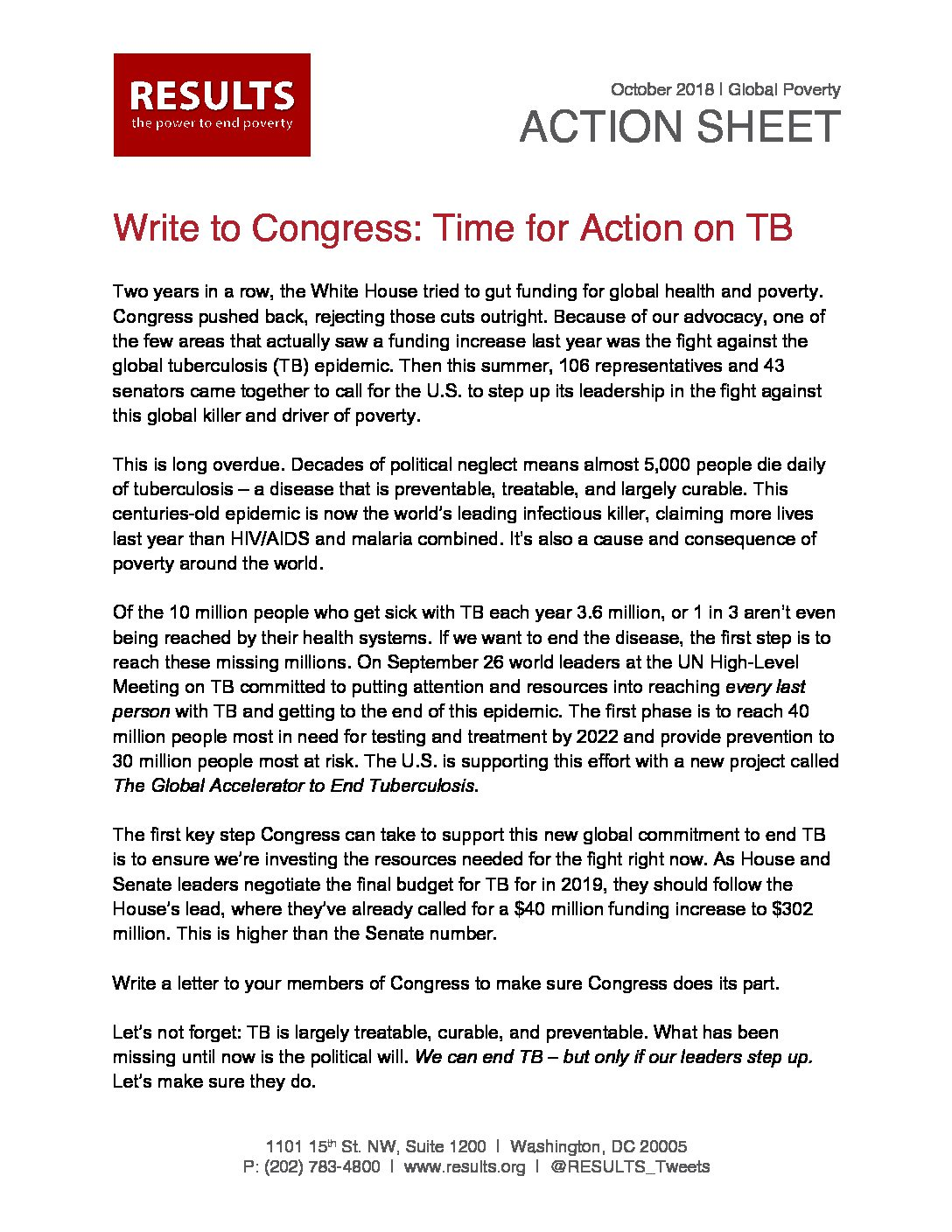 October 2018 Global Action Write To Congress On TB Funding