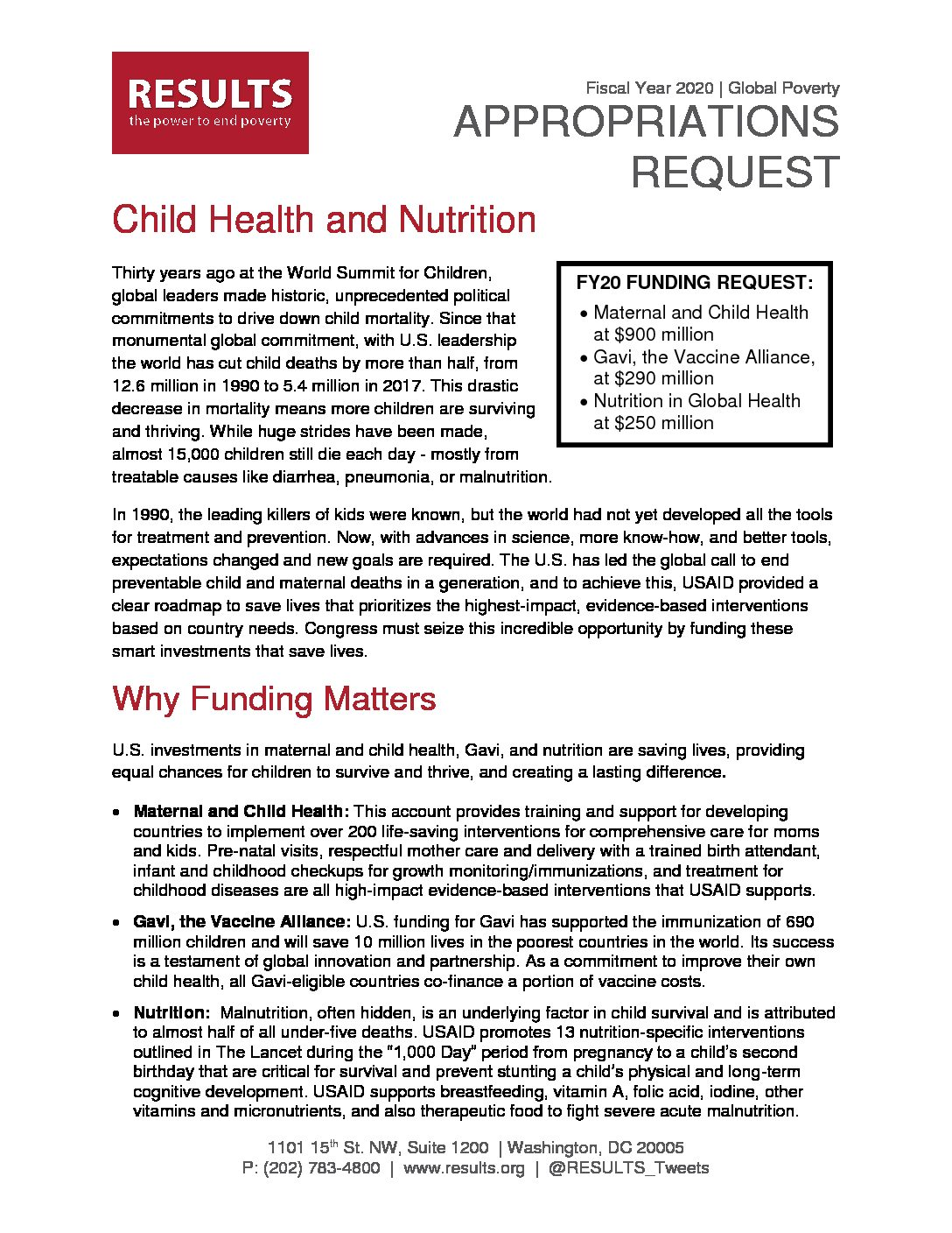 FY20 Child Health and Nutrition Appropriations Request