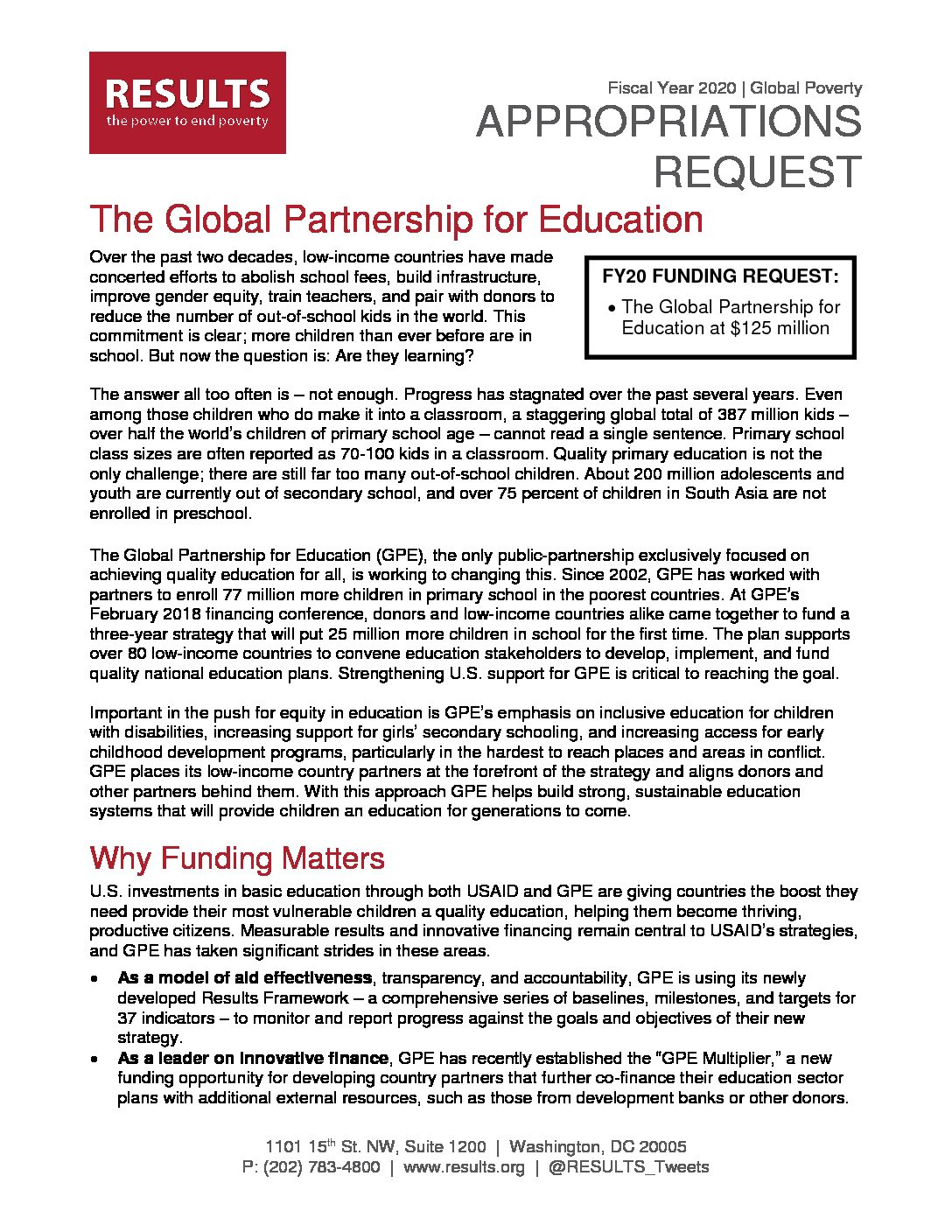 FY20 Global Partnership for Education Appropriations Request