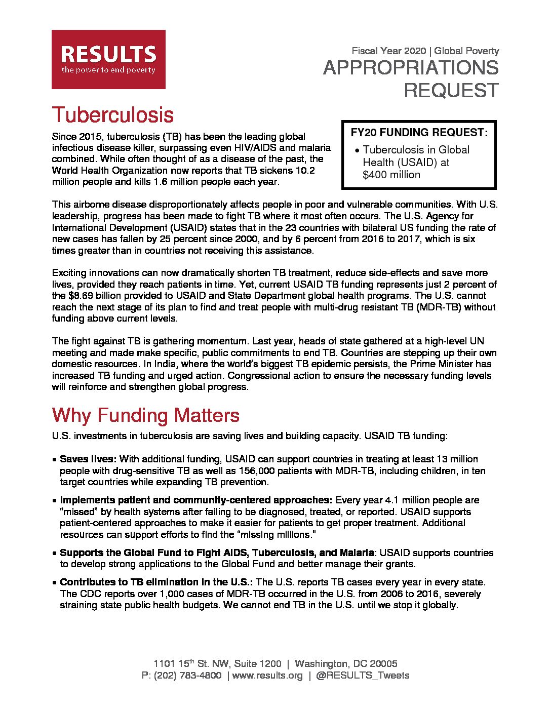 FY20 Tuberculosis Appropriations Request