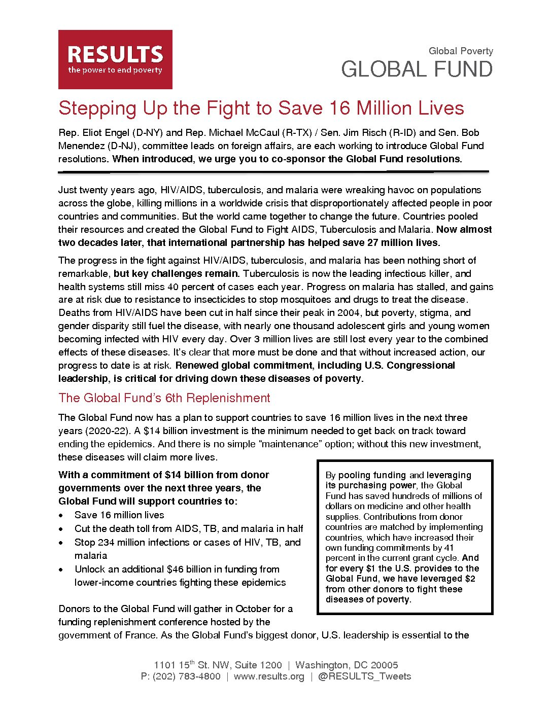 Step Up the Fight: Global Fund to Fight AIDS, TB, and Malaria One Pager (August 2019)
