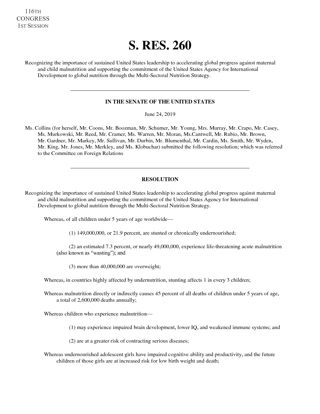 Senate Global Nutrition Resolution – S.Res. 260