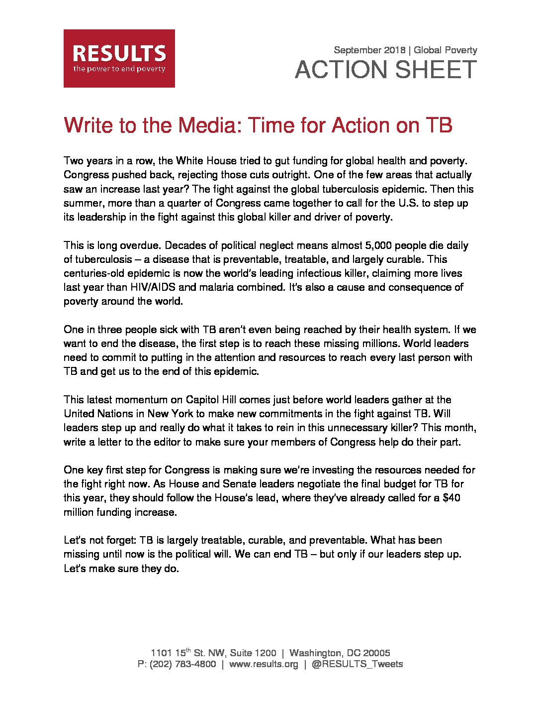 September 2018 Global Action Sheet Write An LTE On TB