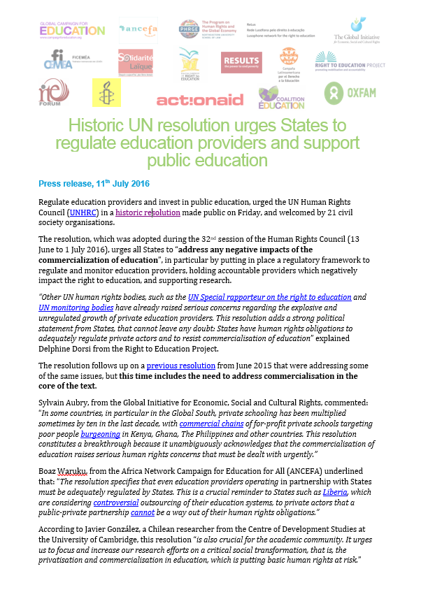 UN Resolution Urges States to Respect, Protect, and Fulfill the Right to Education